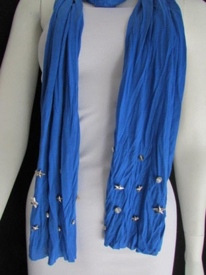 Alwaystyle4you Women Soft Fabric Blue Scarf Long Necklace Silver Metal Stars Studs Image 8