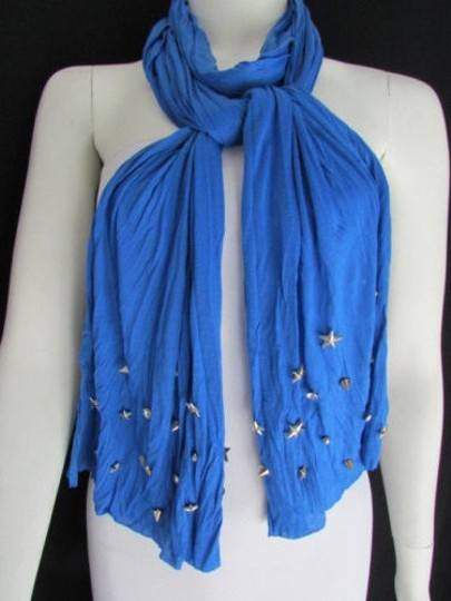 Alwaystyle4you Women Soft Fabric Blue Scarf Long Necklace Silver Metal Stars Studs Image 9