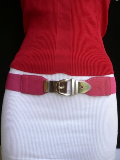 Alwaystyle4you Women Elastic Hip High Waist Pink Thin Belt Silver Metal Buckle Image 0