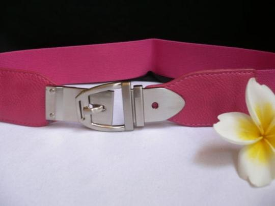 Alwaystyle4you Women Elastic Hip High Waist Pink Thin Belt Silver Metal Buckle Image 1