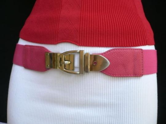 Alwaystyle4you Women Elastic Hip High Waist Pink Thin Belt Silver Metal Buckle Image 2