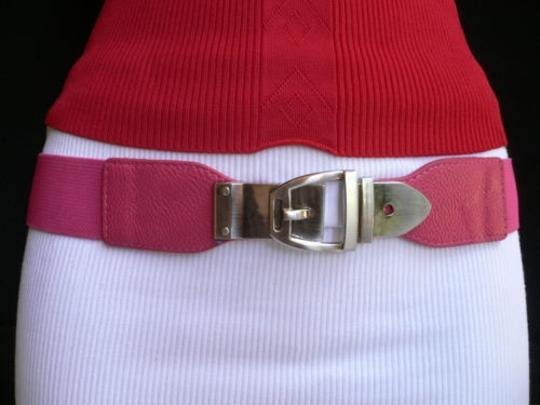 Alwaystyle4you Women Elastic Hip High Waist Pink Thin Belt Silver Metal Buckle Image 7