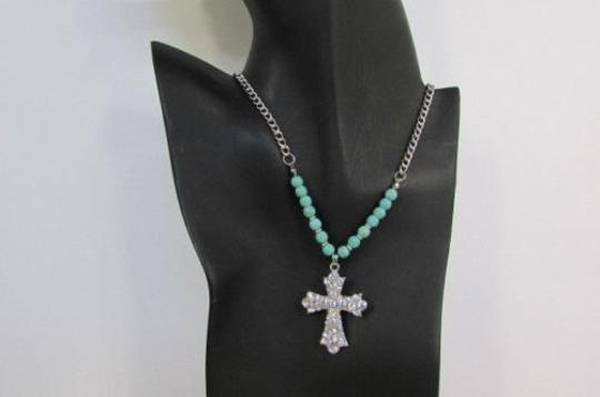 Alwaystyle4you Women Fashion Necklace Silver Metal Cross Turquoise Rhinestones Image 0