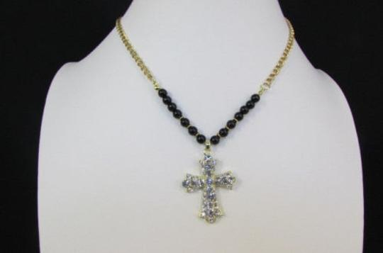 Alwaystyle4you Women Fashion Necklace Silver Metal Cross Turquoise Rhinestones Image 1