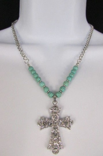 Alwaystyle4you Women Fashion Necklace Silver Metal Cross Turquoise Rhinestones Image 2