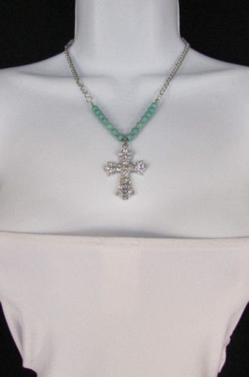 Alwaystyle4you Women Fashion Necklace Silver Metal Cross Turquoise Rhinestones Image 4