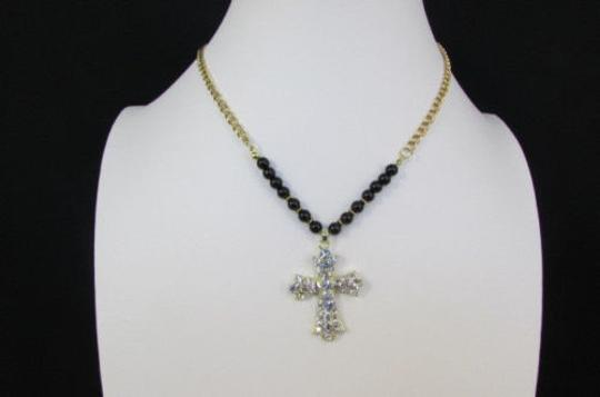 Alwaystyle4you Women Fashion Necklace Silver Metal Cross Turquoise Rhinestones Image 5