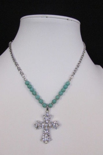 Alwaystyle4you Women Fashion Necklace Silver Metal Cross Turquoise Rhinestones Image 6