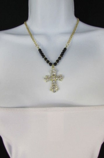 Other Women 15 Fashion Necklace Metal Cross Rhinestones Silver Turquoise Gold