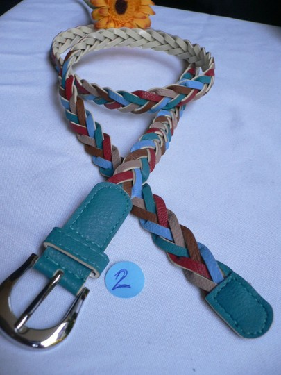 Alwaystyle4you Women Braided Teal Thin Fashion Belt Red Brown Blue Beige Image 1