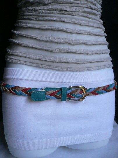 Alwaystyle4you Women Braided Teal Thin Fashion Belt Red Brown Blue Beige Image 2