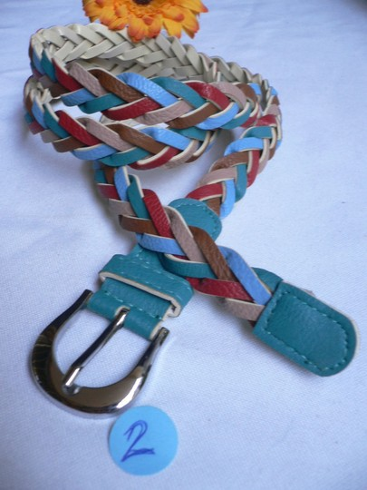 Alwaystyle4you Women Braided Teal Thin Fashion Belt Red Brown Blue Beige Image 3