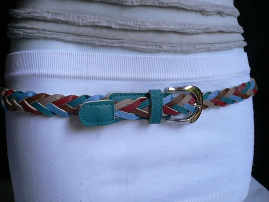 Alwaystyle4you Women Braided Teal Thin Fashion Belt Red Brown Blue Beige Image 5