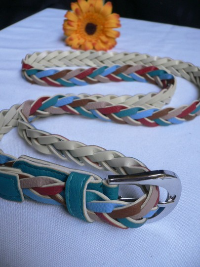 Alwaystyle4you Women Braided Teal Thin Fashion Belt Red Brown Blue Beige Image 6