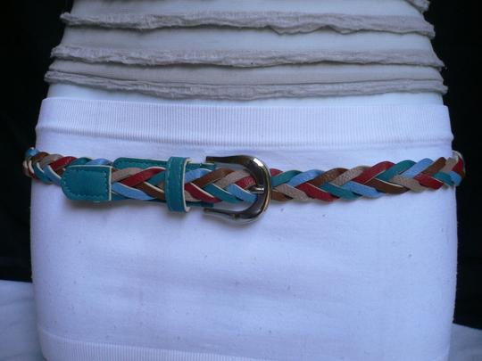 Alwaystyle4you Women Braided Teal Thin Fashion Belt Red Brown Blue Beige Image 8