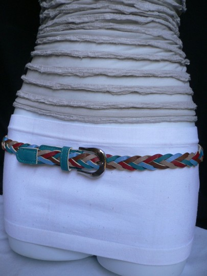 Alwaystyle4you Women Braided Teal Thin Fashion Belt Red Brown Blue Beige Image 9