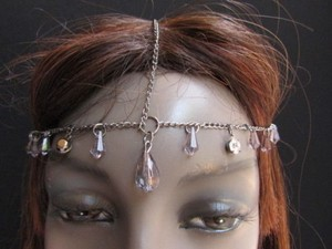Alwaystyle4you Women Pewter Metal Head Thin Chain Clear Beads Headband
