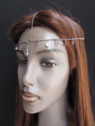 Alwaystyle4you Women Pewter Metal Head Thin Chain Clear Beads Headband Image 11