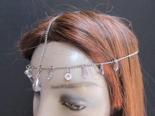 Alwaystyle4you Women Pewter Metal Head Thin Chain Clear Beads Headband Image 2