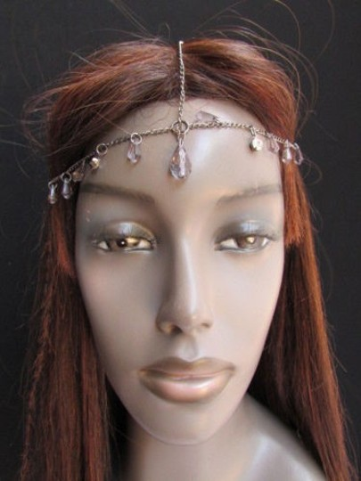 Alwaystyle4you Women Pewter Metal Head Thin Chain Clear Beads Headband Image 4