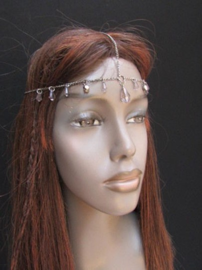Alwaystyle4you Women Pewter Metal Head Thin Chain Clear Beads Headband Image 5