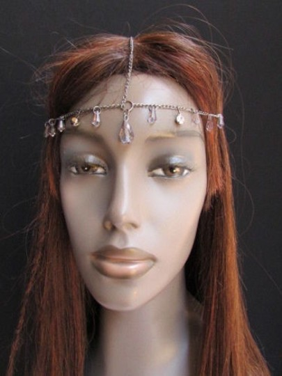 Alwaystyle4you Women Pewter Metal Head Thin Chain Clear Beads Headband Image 9