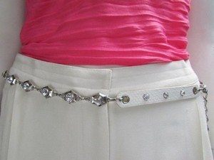 Alwaystyle4you Women Hip Waist Silver Metal Chains Fashion Belt White Faux Leather