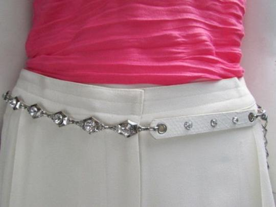 Alwaystyle4you Women Hip Waist Silver Metal Chains Fashion Belt White Faux Leather Image 0