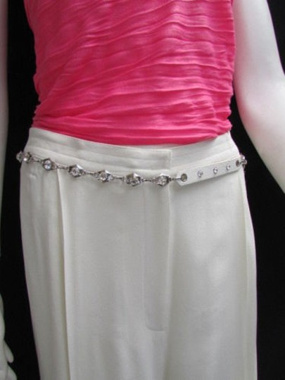 Alwaystyle4you Women Hip Waist Silver Metal Chains Fashion Belt White Faux Leather Image 1