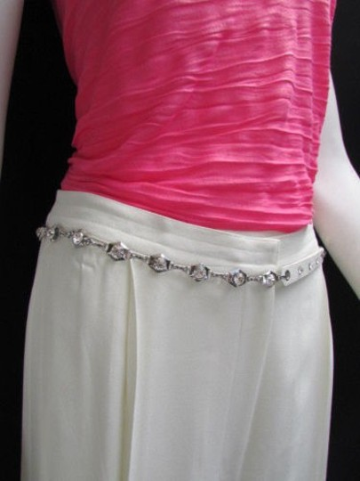 Other Women Hip Waist Silver Metal Chains Fashion Belt White Faux Leather 32-42 M-xl