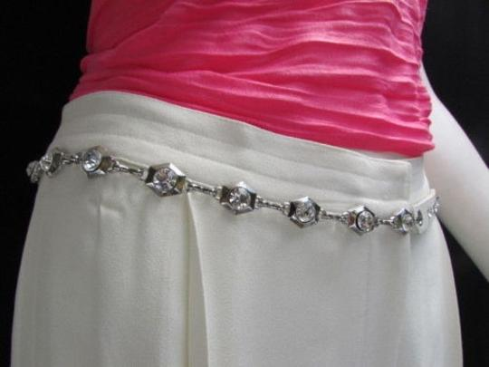 Alwaystyle4you Women Hip Waist Silver Metal Chains Fashion Belt White Faux Leather Image 11