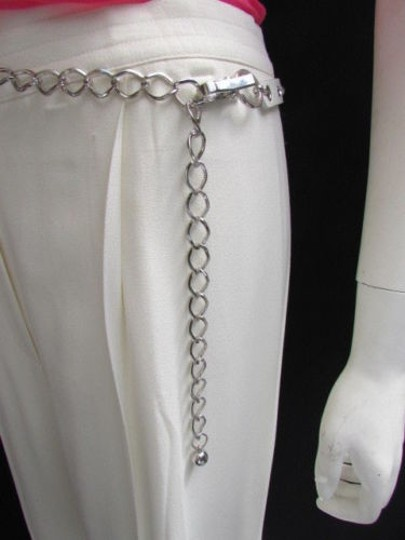 Alwaystyle4you Women Hip Waist Silver Metal Chains Fashion Belt White Faux Leather Image 4