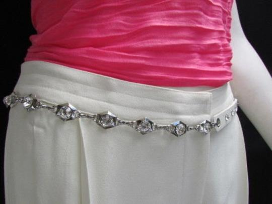 Alwaystyle4you Women Hip Waist Silver Metal Chains Fashion Belt White Faux Leather Image 8