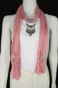 Other Women Pink Fashion Soft Scarf Long Necklace Big Silver Mayan Eye Pendant