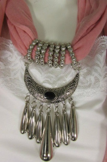 Alwaystyle4you Women Pink Scarf Long Necklace Big Silver Mayan Eye Pendant Image 1