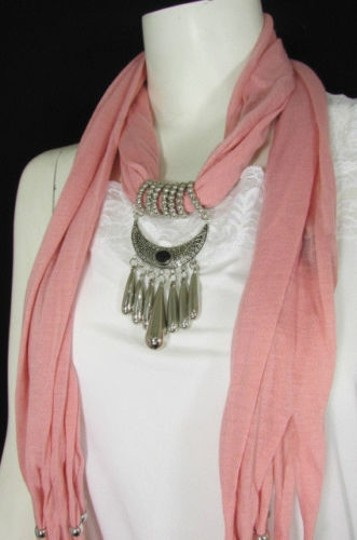 Alwaystyle4you Women Pink Scarf Long Necklace Big Silver Mayan Eye Pendant Image 10