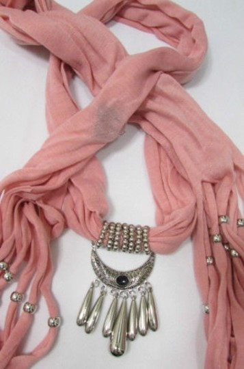 Alwaystyle4you Women Pink Scarf Long Necklace Big Silver Mayan Eye Pendant Image 11