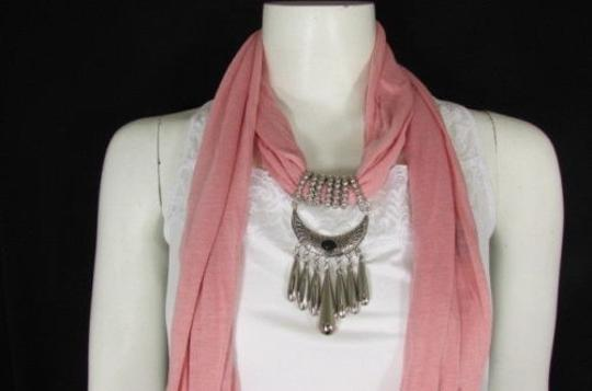 Alwaystyle4you Women Pink Scarf Long Necklace Big Silver Mayan Eye Pendant Image 2