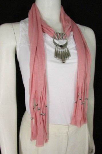 Alwaystyle4you Women Pink Scarf Long Necklace Big Silver Mayan Eye Pendant Image 3