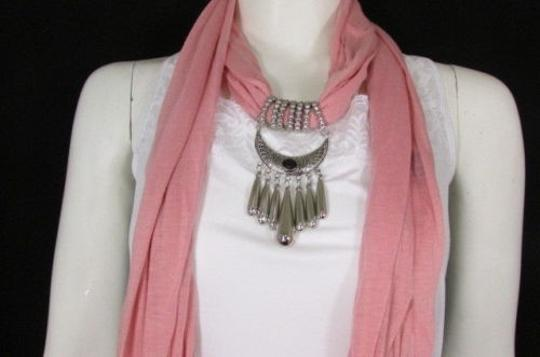 Alwaystyle4you Women Pink Scarf Long Necklace Big Silver Mayan Eye Pendant Image 4