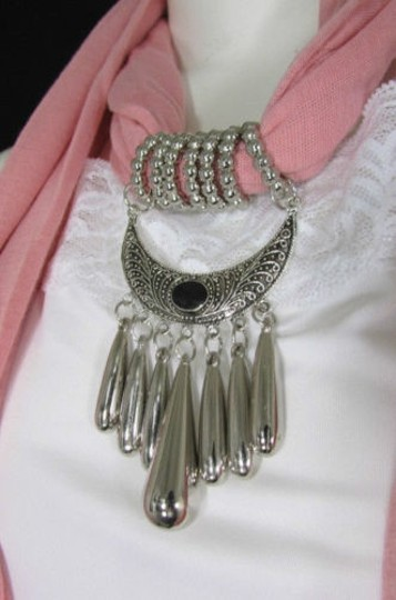 Alwaystyle4you Women Pink Scarf Long Necklace Big Silver Mayan Eye Pendant Image 5