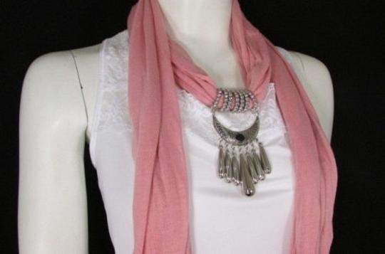 Alwaystyle4you Women Pink Scarf Long Necklace Big Silver Mayan Eye Pendant Image 6