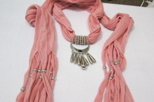 Alwaystyle4you Women Pink Scarf Long Necklace Big Silver Mayan Eye Pendant Image 7