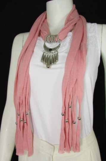 Alwaystyle4you Women Pink Scarf Long Necklace Big Silver Mayan Eye Pendant Image 8