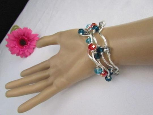 Alwaystyle4you Women Orangered Silver Navy Blue Beads Five Bangles Bracelets Image 3
