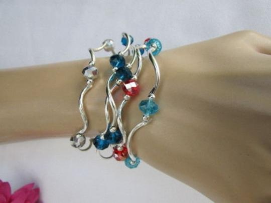 Alwaystyle4you Women Orangered Silver Navy Blue Beads Five Bangles Bracelets Image 5