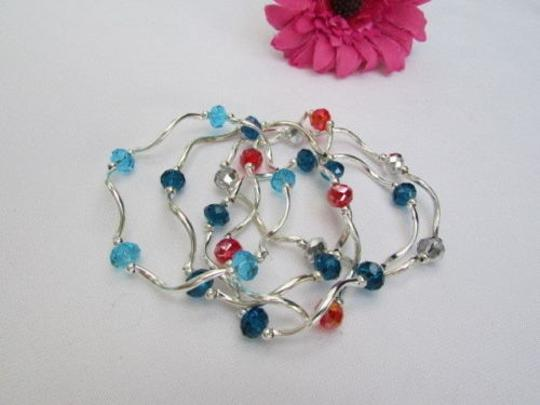 Alwaystyle4you Women Orangered Silver Navy Blue Beads Five Bangles Bracelets Image 6