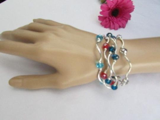 Other Women Orangered Silver Navy Blue Beads Fashion Jewelry Five Bangles Bracelets