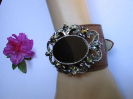 Alwaystyle4you Women Silver Brown Faux Leather Bracelet Big Center Rhinestones Image 11