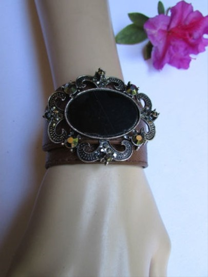 Alwaystyle4you Women Silver Brown Faux Leather Bracelet Big Center Rhinestones Image 2